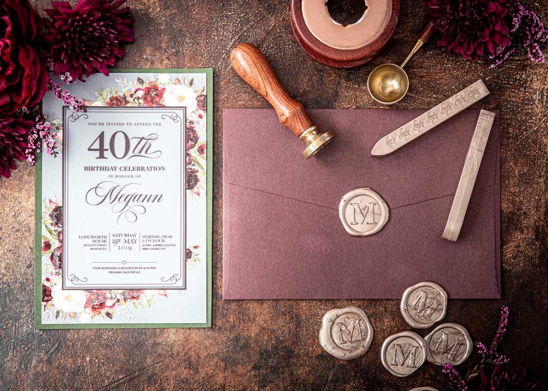 40th birthday invitation wax seal uv printing