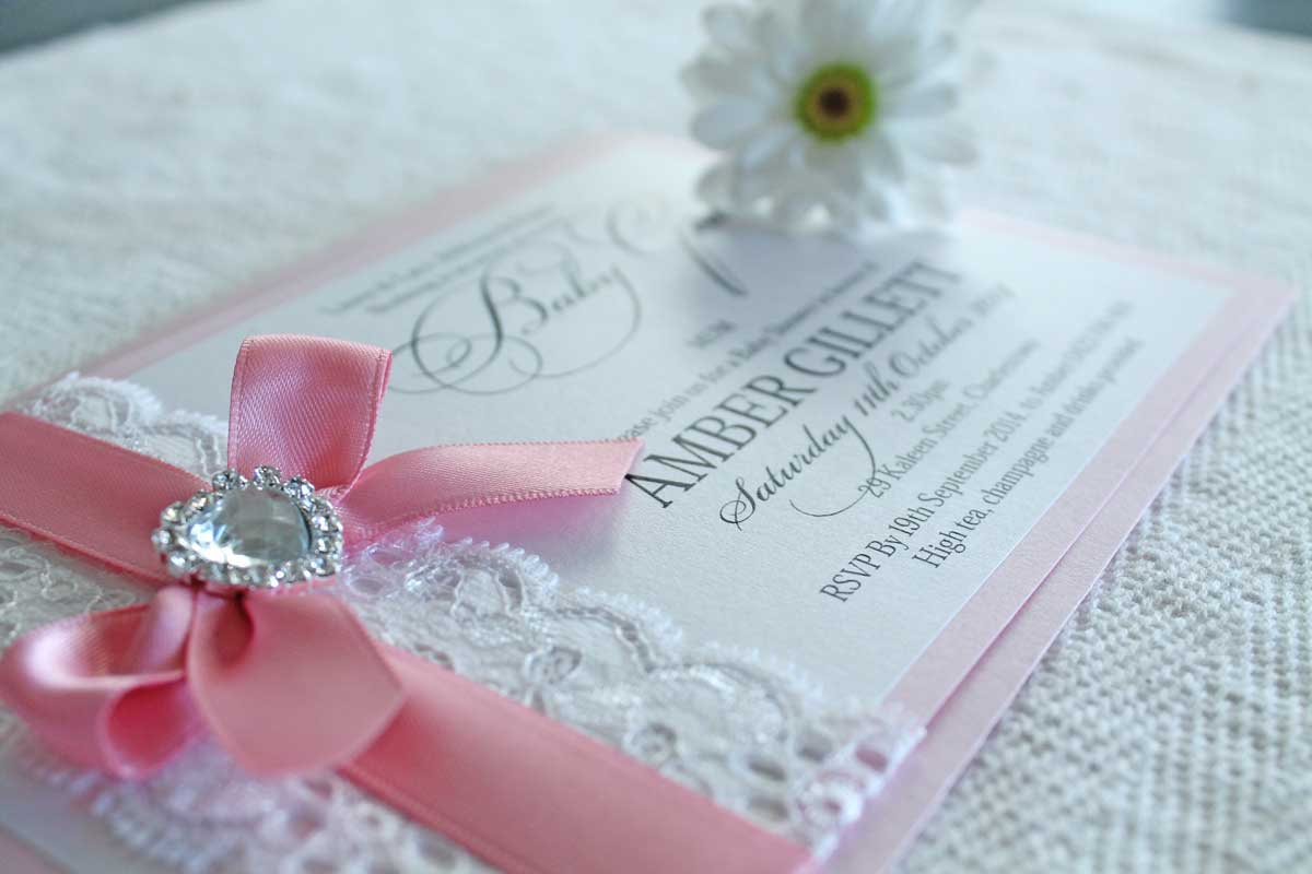 pink lace baby shower invitation