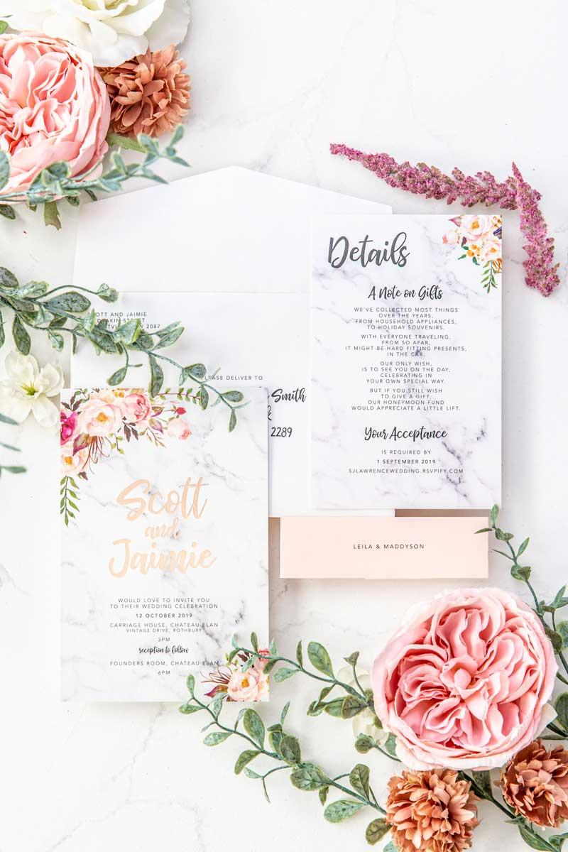 rose gold floral wedding invitation suite