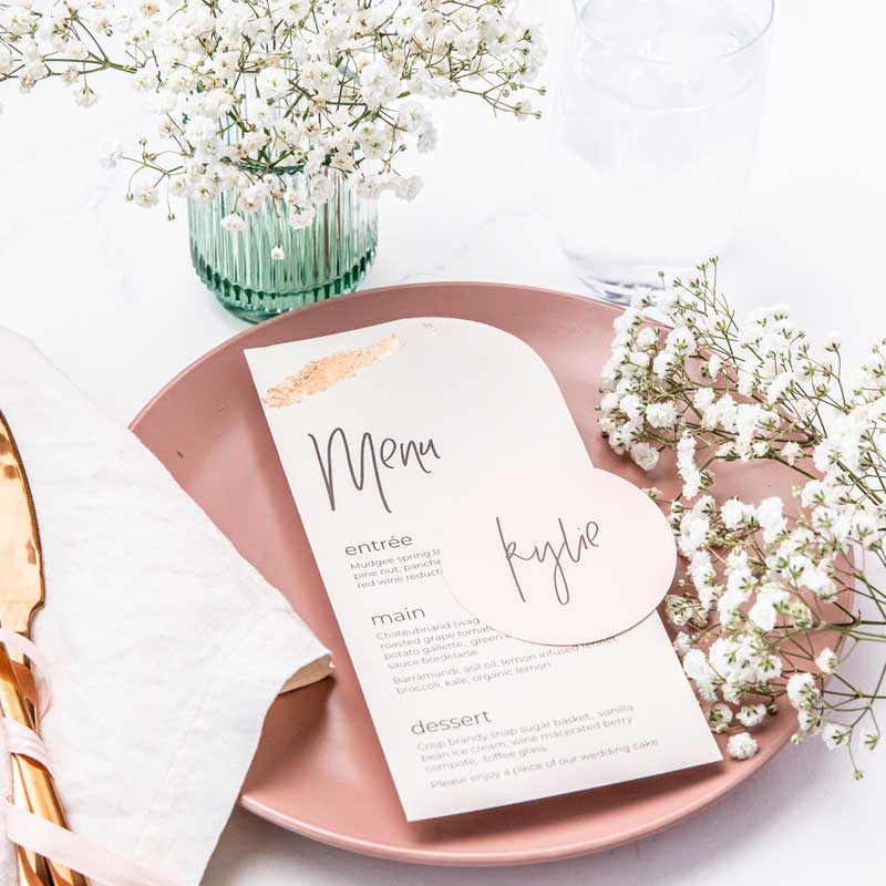 rose gold foil menu card and blush pink circle place cards