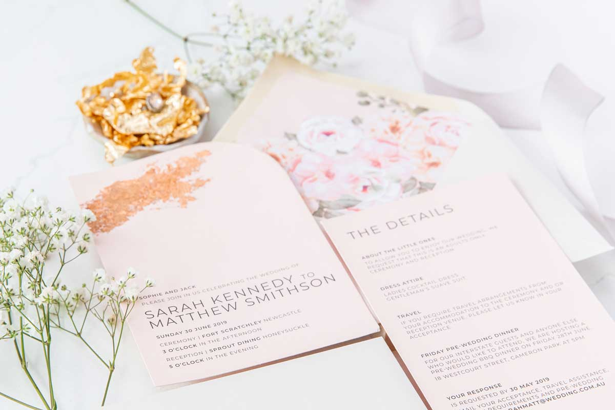 blush pink rose gold foil wedding invitation