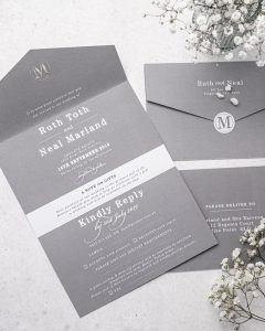 silver all in one wedding invitation