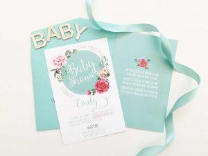 aqua floral baby shower invitation