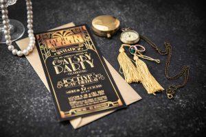 great gatsby gold and black birthday invitation
