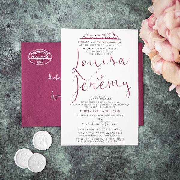 burgundy weddin invitation