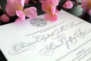 grey letterpress invitation
