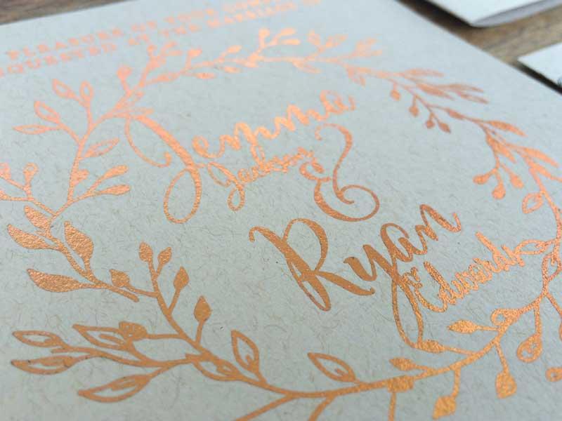 copper foil wedding invitation wreath