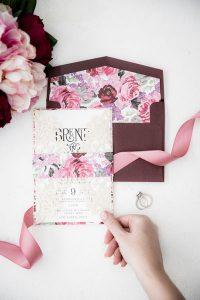 floral wedding invitation envelope liner