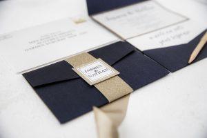 navy and gold glitter wedding invitation pocket