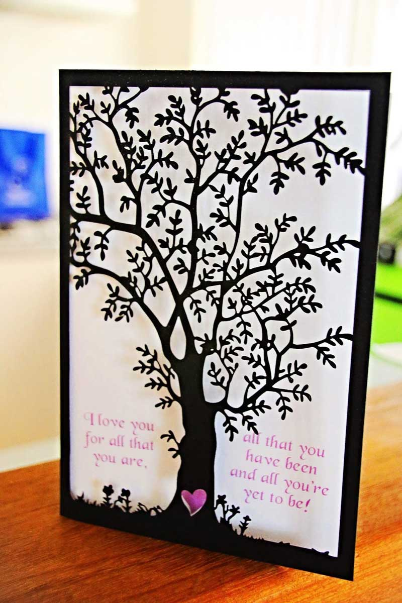 black tree laser-cut wedding invitation