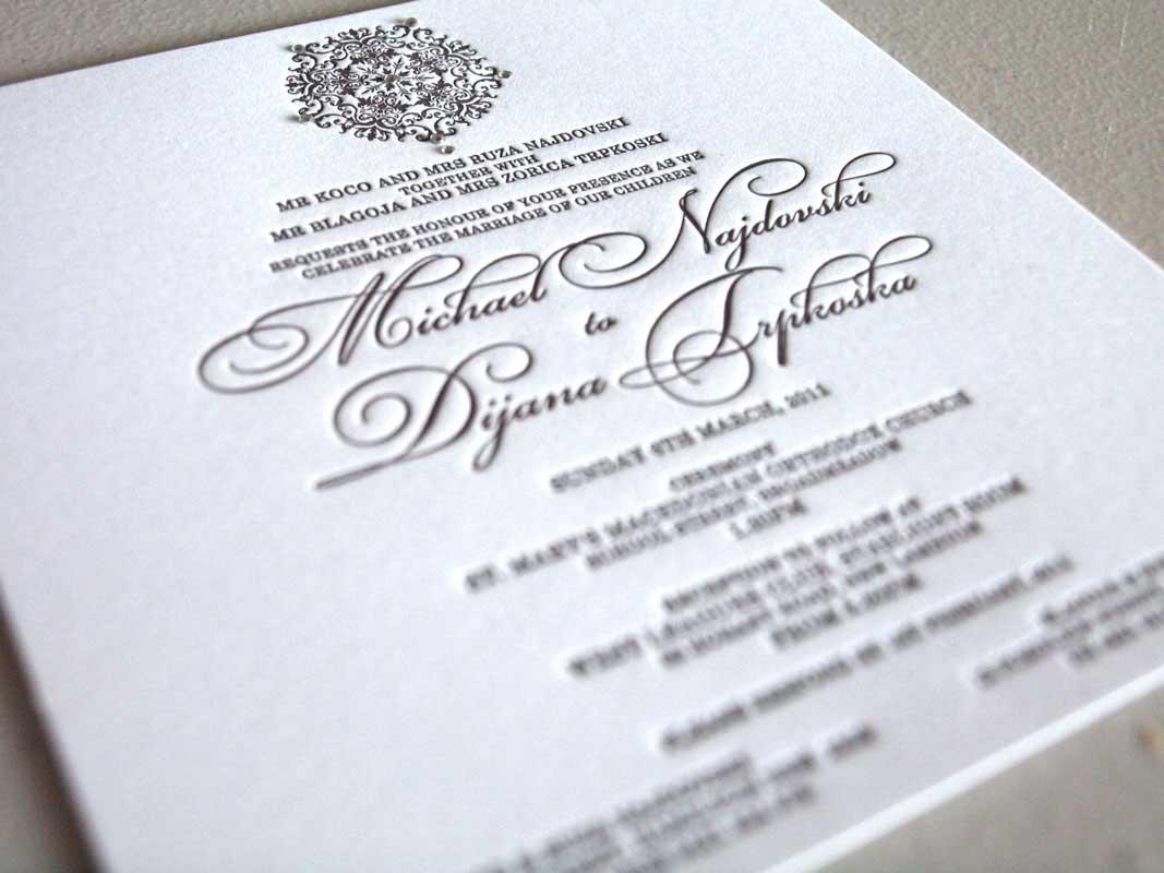 brown letterpress wedding invitation