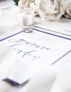 navy letterpress wedding invitation