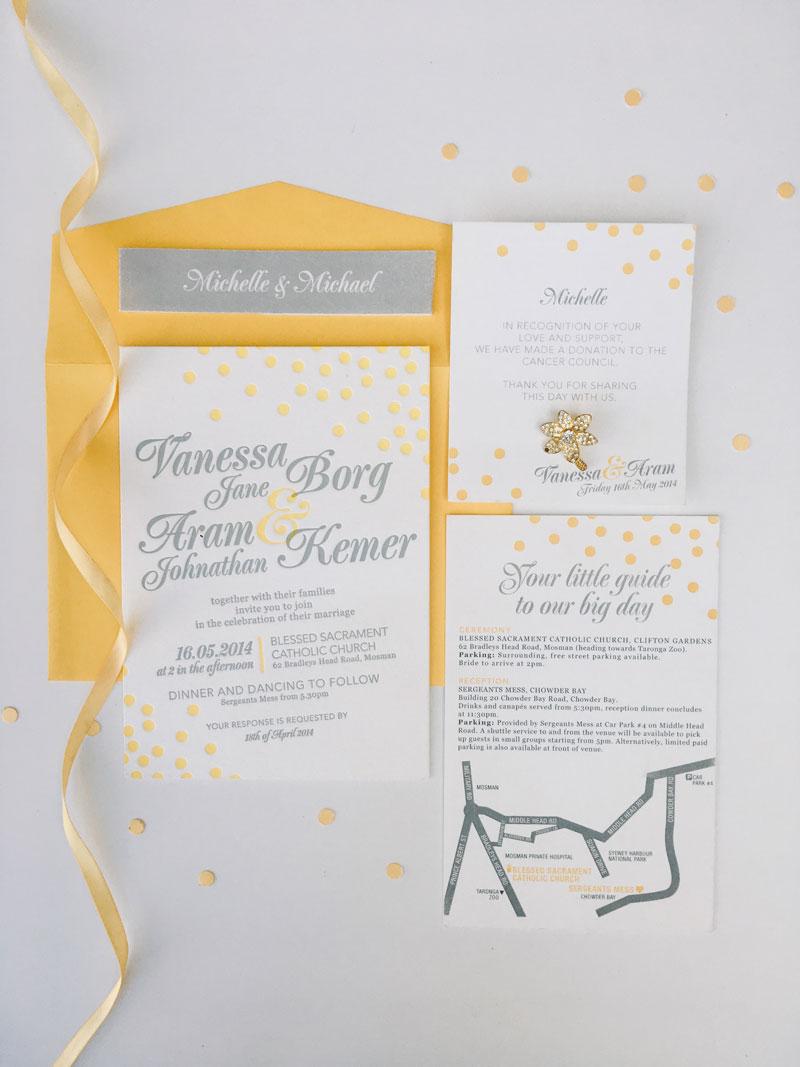 yellow and grey letterpress wedding invitation