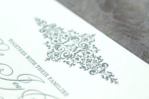 grey letterpress wedding invitation