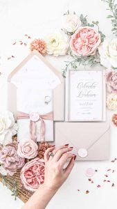 boutique silk ribbon wax seal wedding invitation envelope liner