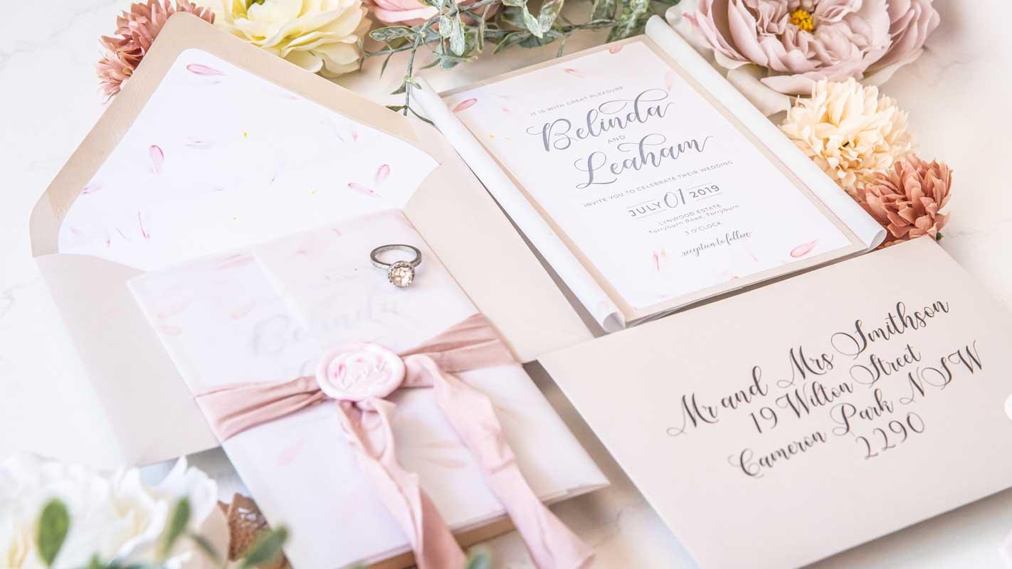 boutique silk ribbon wax seal wedding invitation