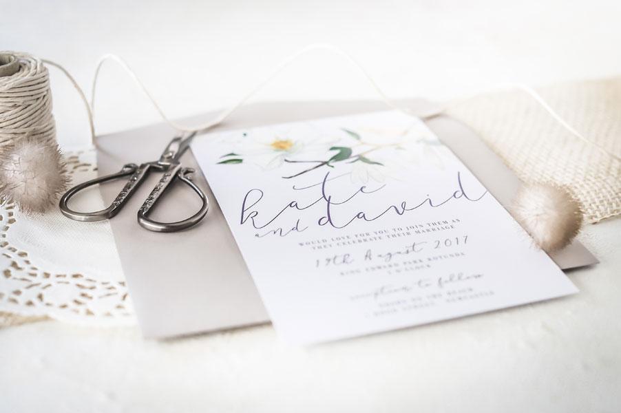 magnolia wedding invitation