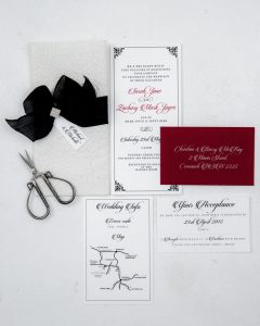 black and red letterpress wedding invitation suite