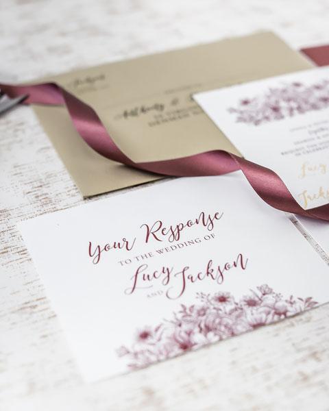 burgundy and gold foil floral wedding invitation