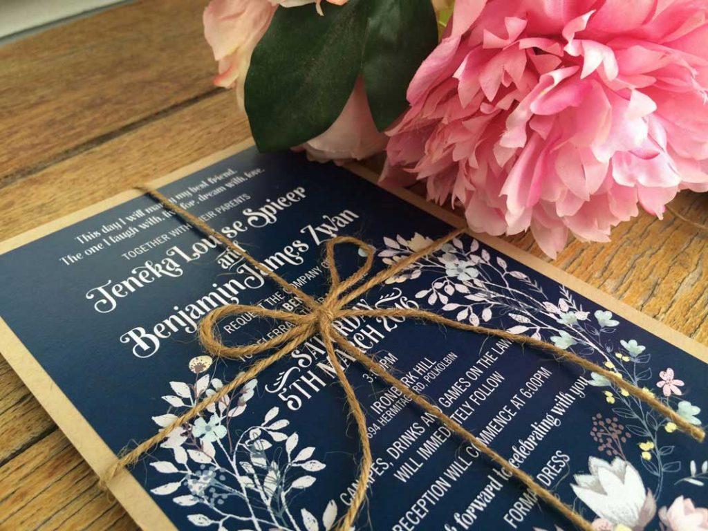 navy rustic wedding invitation