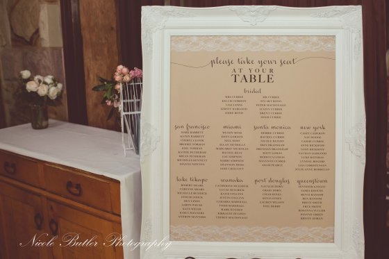 rustic lace table seating chart