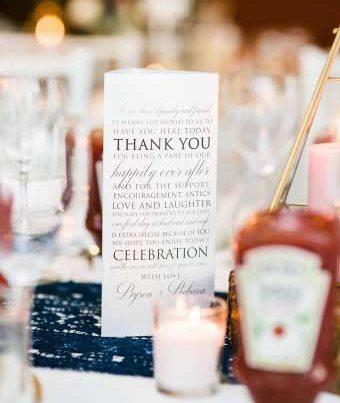tri-fold table cards wedding reception
