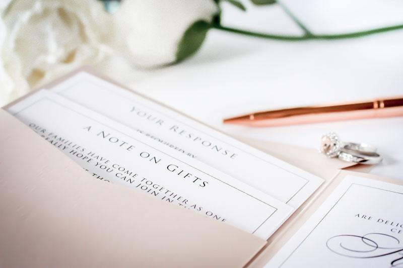 boutique wedding invitation details card