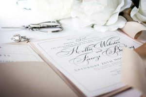 boutique wedding invitation closeup