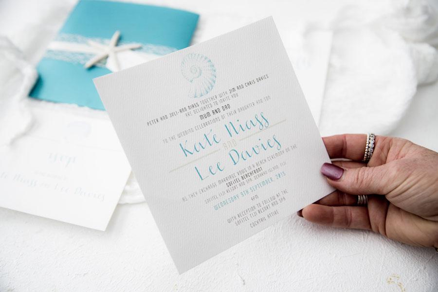 coastal seashell wedding invitation
