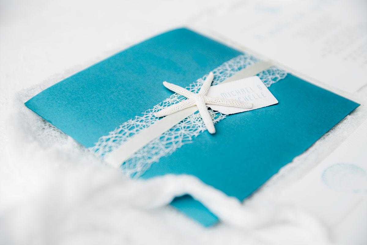 coastal pocket wedding invitation