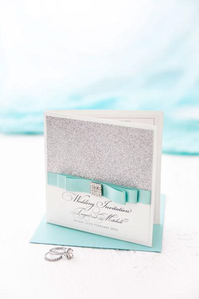 boutique teal aqua silver glitter wedding invitation