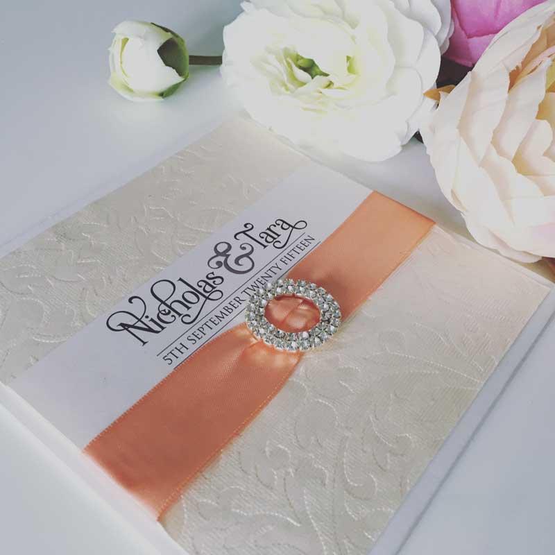 ivory and coral wedding invitation pocket