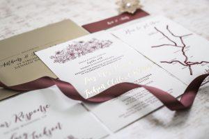 burgundy and gold floral wedding invitation