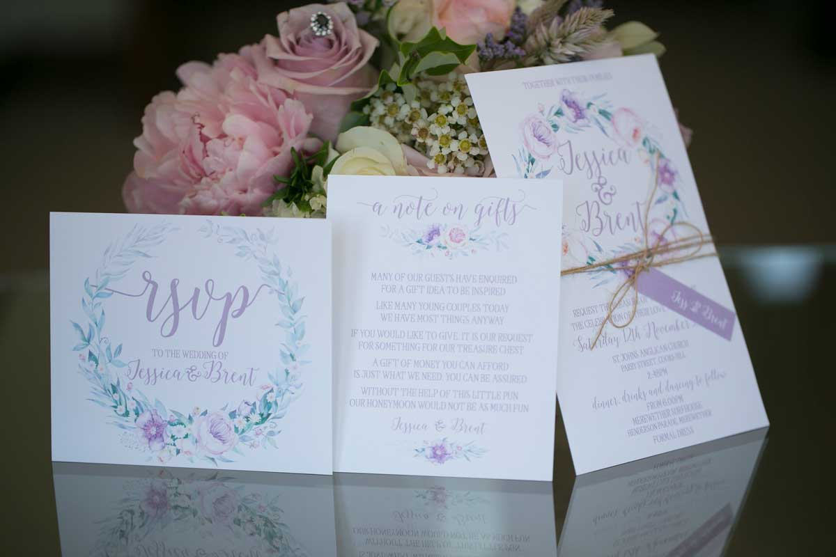 peonie wreath wedding invitation