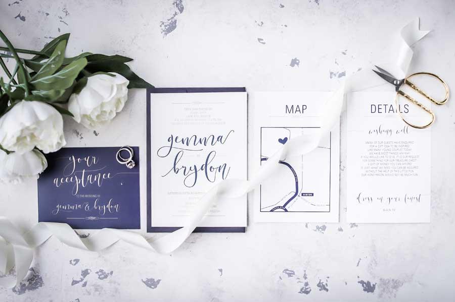 navy letterpress wedding invitation suite