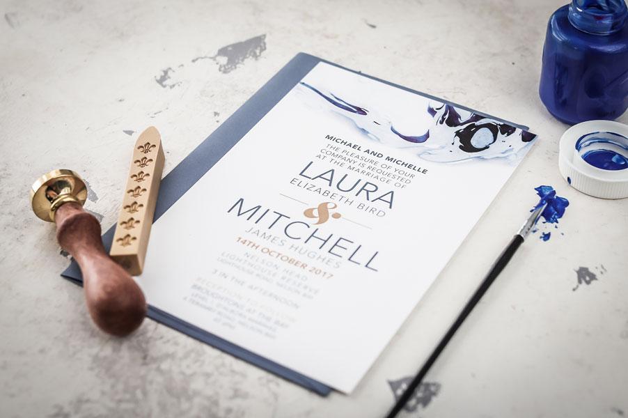 blue ink wedding invitation