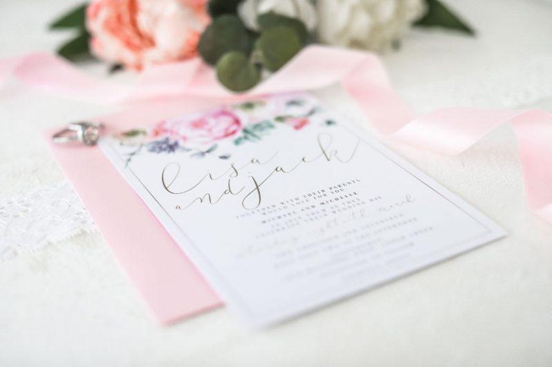 pink peonie wedding invitation