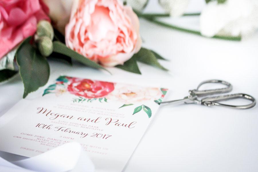 red and white peonie wedding invitation