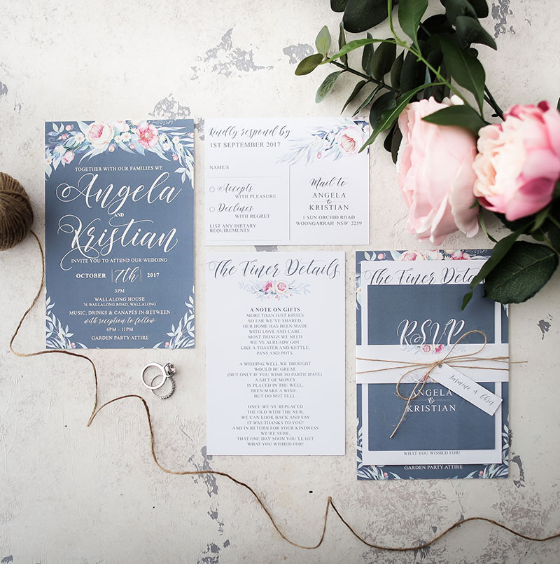 dusty blue peonie wedding invitation suite