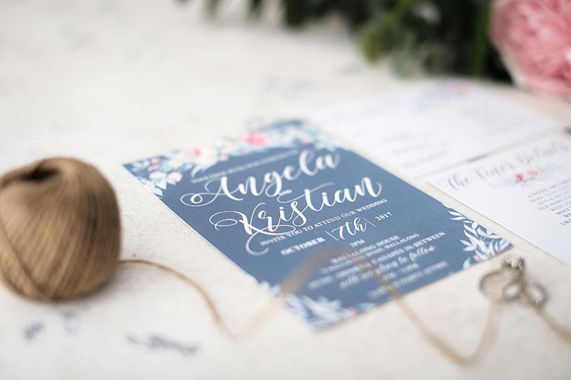 dusty blue peonie wedding invitation