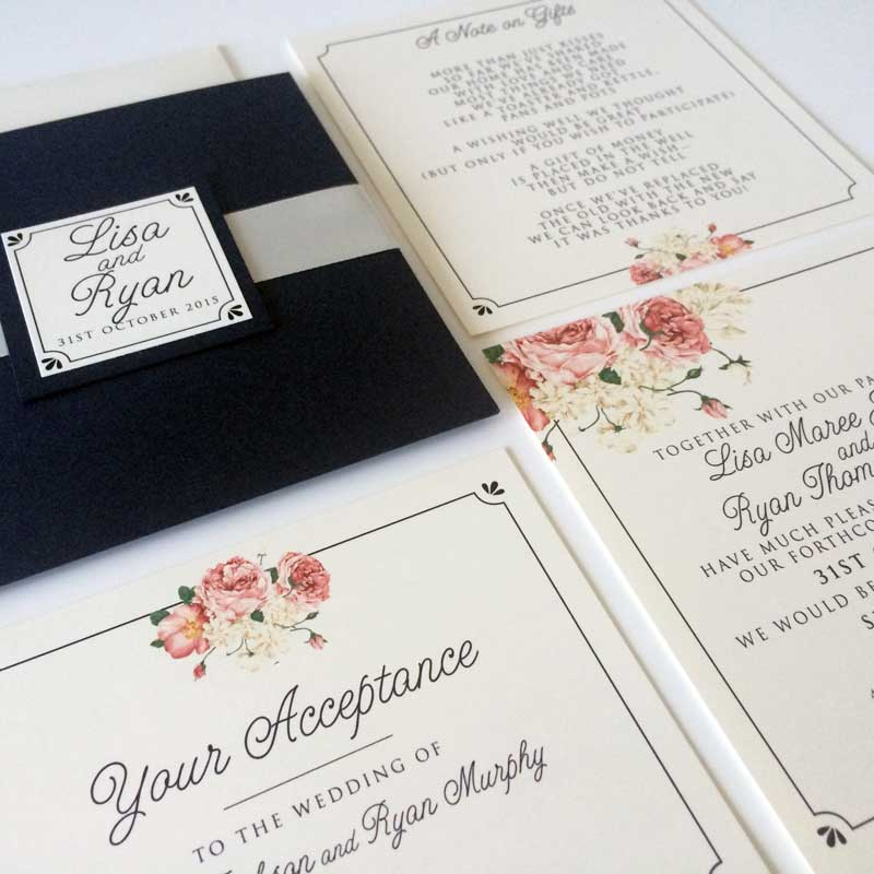peonie wedding invitation