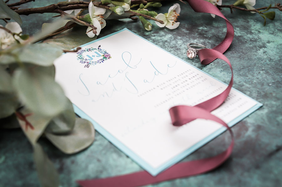succulent wreath aqua wedding invitation