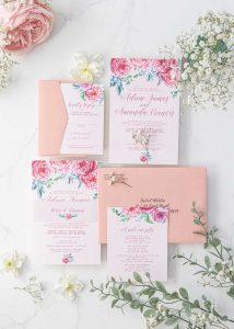 pink peonie wedding invitation suite