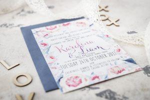 dusty blue and pink peonie wedding invitation