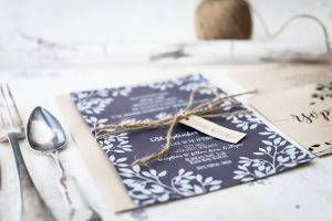 navy and white rustic wedding invitation