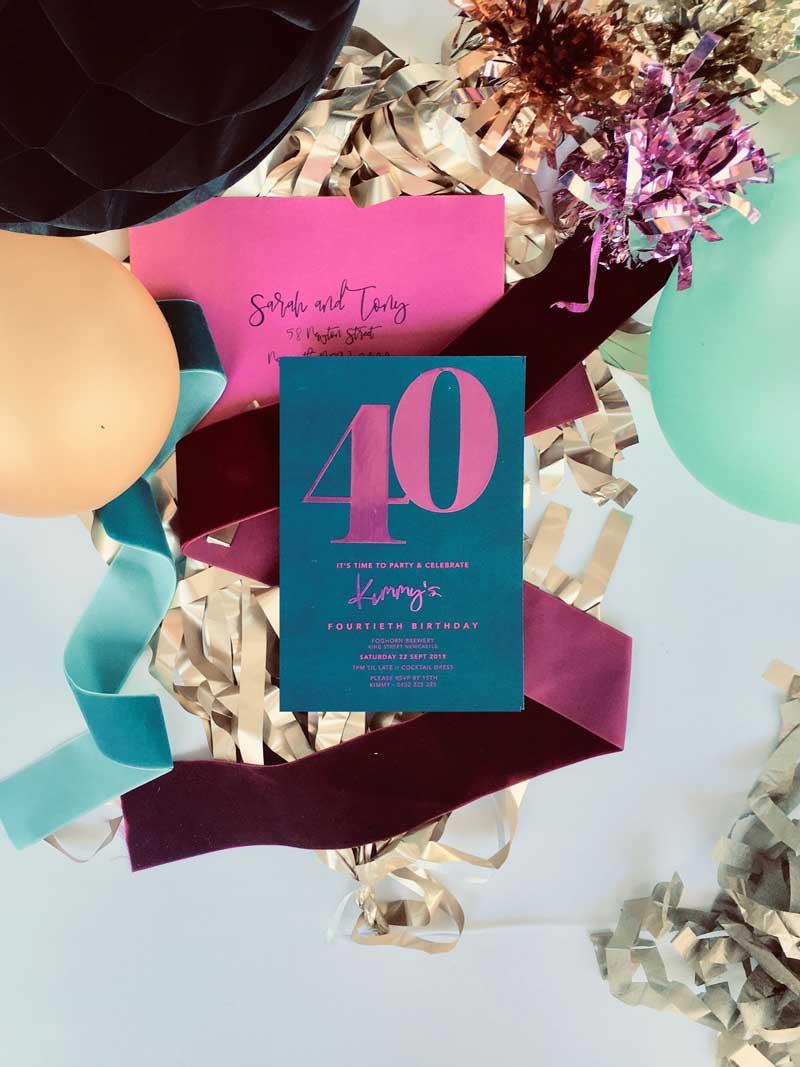 hot pink foil 40th birthday invitation