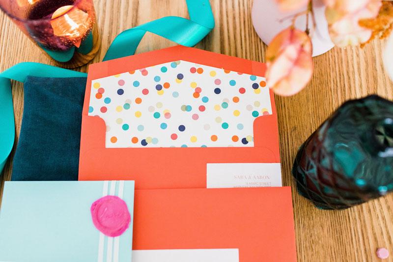 retro wedding invitation confetti envelope liner