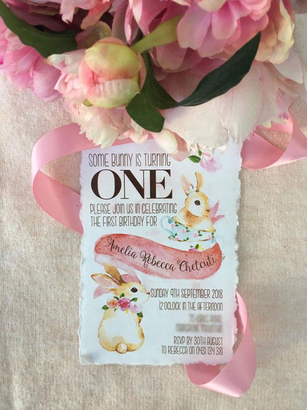 one bunny theme birthday invitation