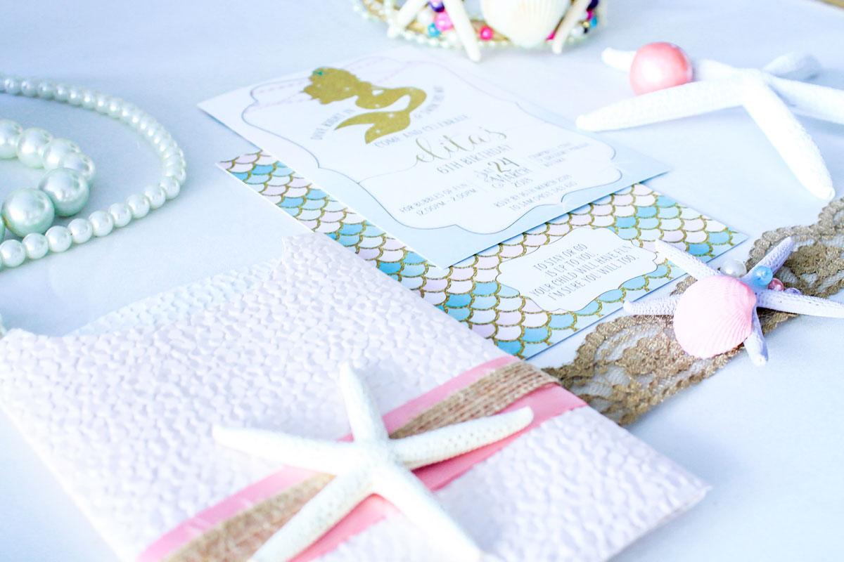 mermaid seashell birthday invitation