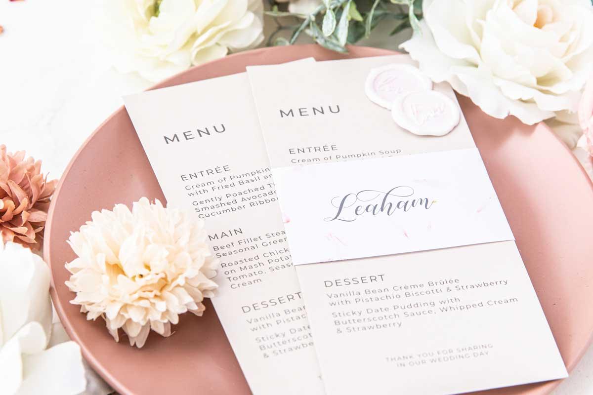 wax seal wedding menu